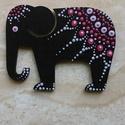 Mandala szerencsehozó elefánt hűtőmágnes pink, Konyhafelszerelés, Hűtőmágnes, Festett tárgyak, Egyedi, kézzel festett mandala elefánt hűtőmágnes, pink színvilágban. Fa lézervágott mintára készül..., Meska