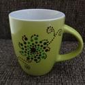 Mandala kézzel festett kávés-cappuccinós bögre, Konyhafelszerelés, Bögre, csésze, Egyedi, kézzel festett mandala kávés-cappuccinós bögre. Almazöld színű kerámia bögrére készült,melyn..., Meska