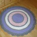 Mandala horgolt szőnyeg, Otthon, lakberendezés, Lakástextil, Szőnyeg, Harmonikus színvilágú mandala szőnyeg, pólófonalból készült horgolással. Átmérője 90cm. Rendelésre i..., Meska