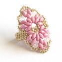 VIRÁGSZIROM romantikus ezüst rózsaszín gyűrű, gyöngyékszer, ékszer, gyöngyékszerek, ékszerek, Ékszer, Gyűrű, romantikus, bájos,... ... Te is így érzed?   matt rózsaszínű superduó gyöngyből, 4 mm-es á..., Meska