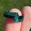 Türkiz-sötétkék aszimmetrikus gyöngy gyűrű, Ékszer, óra, Gyűrű, Türkiz és irizáló sötétkék Miyuki delica gyöngyökből készítettem ezt a különleges gyű..., Meska