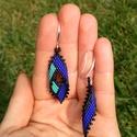 Elegáns kék-türkiz gyöngy fülbevaló , Ékszer, Fülbevaló, Türkiz, fekete és matt sötétkék Miyuki delica gyöngyből készítettem peyote technikával ezt a különle..., Meska