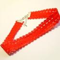 Piros elasztikus csipke choker, nyakpánt L-GO25, Ékszer, Nyaklánc, Piros elasztikus csipkéből készült choker , nyakláncot. Hossza 30cm + 5cm lánchosszabbító A ..., Meska