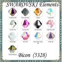 Ékszerkellék: Swarovski bicon 3mm-es AB bevonatos több színben SWGY5328-3AB 24db/csomag, *SWGY5328-3AB Eredeti  swarovski kristály bicon t...