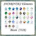 Ékszerkellék: Swarovski bicon 4mm-es AB bevonatos több színben SWGY5328-4AB 24db/csomag, SWGY5328-4AB Eredeti swarovski kristály bicon tö...