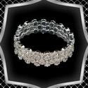 Három soros kristály karkötő ES-K04-3e fehér, Három soros strassz köves, merev karkötő . A  ...