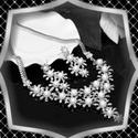 Ékszerek-szettek: Esküvői, menyasszonyi, alkalmi ékszer szett, ES-SZ34-e fehér, Az ékszer szett kristály köves ródiumozott ele...
