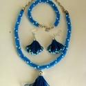 Kék pöttyös együttes pöttyös rojtokkal, Ékszer, Ékszerszett, A nyaklánc és karkötő két különböző kék színű apró gyöngyökből 8 szál összefonásával készült, japán ..., Meska