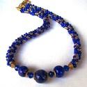 Kék-arany olvasztott gyöngyök fonott gyöngy láncon, Ékszer, Nyaklánc, A nyaklánc közepén látható 3 különböző méretű kék-arany gyöngyöt is én készítettem ..., Meska