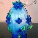 Kék virágos tojás, Dekoráció, Dísz, Ünnepi dekoráció, Húsvéti díszek, Mindenmás, Amikor kislány voltam megfogadtam, hogy ha nekem egyszer sajátom lakásom lesz nem lesz benne kék, m..., Meska