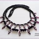 Kétsoros fekete-lila mintás nyaklánc, Ékszer, óra, Nyaklánc, A nyakláncot fekete színű tekla üveggyöngyből fűztem meg, amelyet lila alapon mintás dárda ..., Meska