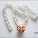 Narancs bogyós nyaklánc, Ékszer, Ékszerszett, Nyaklánc, Karkötő, A narancssárga és fehér színű nyakláncot fehér színű tekla üveggyöngyből, élénk és halvány narancssá..., Meska