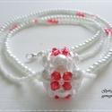 Piros-fehér bogyós nyaklánc és fülbevaló, Ékszer, óra, Ékszerszett, Fülbevaló, Nyaklánc, A nyaklánc láncrésze két szálból áll, amely közepére egy félig kitöltött gyöngybogyót fűztem fel. A ..., Meska
