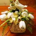 Szerelmes madárkák, Dekoráció, Dísz, Ünnepi dekoráció, A fehér fiókot virágokkal, növényekkel, bogyókkal töltöttem meg, és egy madárpár került ..., Meska