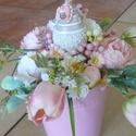 Bárányos kaspó, Dekoráció, Otthon, lakberendezés, Ünnepi dekoráció, Asztaldísz, A kaspót megtöltöttem tulipánokkal és más virágokkal, végül egy bárányt ültettem rá., Meska