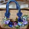 Strandtáska virágokkal, Ruha, divat, cipő, Táska, Válltáska, oldaltáska, A farmerfüles szalmatáskát virágokkal, levelekkel tettem egyedivé, ilyen biztosan nincs másnak..., Meska