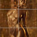 Aranynő Csempe mozaikkép, Dekoráció, Képzőművészet, Konyhafelszerelés, Kép, Csempe kép. 6 db 10x10 cm minőségi csempe lapok felületébe égetem 200 C°-on a mozaikszerűen ..., Meska