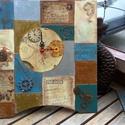 Falióra Steampunk stílusban, Ékszer, óra, Férfiaknak, Karóra, óra, Steampunk ajándékok, Decoupage, szalvétatechnika, Festett tárgyak, Elegáns,sok kis részletből egységessé formált falióra.Bronz,antikarany és ezüst folyékony fémmel dí..., Meska