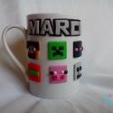 Minecraft bögre, Mindenmás, Konyhafelszerelés, Baba-mama-gyerek, Gyurma, Égethető gyurmával díszített, a Minecraft figuráit idéző ikonokkal készített bögre, űrtartalom: 2,5..., Meska