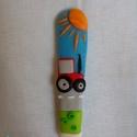 Traktoros kiskanál, Egyéb, Otthon & lakás, Gyerek & játék, Konyhafelszerelés, Játék, Gyurma, Traktorral díszített kiskanál, igazi meglepetés lehet egy traktort kedvelő kisfiú számára :) Kanál ..., Meska
