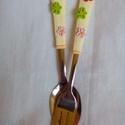 Virágos szett, Mindenmás, Konyhafelszerelés, Baba-mama-gyerek, Virágokkal díszített kiskanál és kis villa szett, mérete: 15 cm., Meska