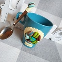 Macaron bögre+kanál szett, Otthon, lakberendezés, Mindenmás, Konyhafelszerelés, Baba-mama-gyerek, Macaronokkal díszített bögre+kanál szett, nem csajos színekkel, türkiz-zöld-vanília színek vonalán a..., Meska