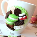 Nutella-édesség mánia szett, Otthon & lakás, Férfiaknak, Gyerek & játék, Gyurma, Nutellás üvegcsével, keksszel, csokival, bonbonnal, macaronnal díszített bögre és kanál szett, töké..., Meska