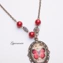 Piros pille - üveglencsés nyaklánc, régies stílusban, Antik hatású, csodaszép bronz foglalatba foglal...