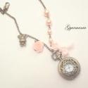 Alice-es álom - vintage jellegű, bronz ékszeróra, nyakláncon, Kicsi, 2,5 cm átmérőjű ékszerórát hoztam, m...