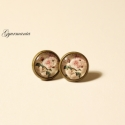 Romantikus rózsás bedugós fülbevaló - régies,vintage jellegű, Apró, 1,2 cm-es üveglencsés romantikus rózsami...