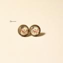 Romantikus rózsás-pillangós bedugós fülbevaló - régies,vintage jellegű, Apró, 1,2 cm-es üveglencsés romantikus rózsa-p...