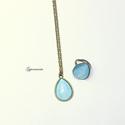 Türkíz cseppek - vintage bronz ékszerszett, nyaklánc, gyűrű, Vidám nyári szettet hoztam, türkízkék nyaklá...
