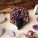 Különleges alkalmi medál Tektittel és lávakő golyóval, gyurma ékszer, ásványékszer, Különleges és egyedi, kézzel készült gyurma ...