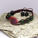 Moha achát gyöngyös makramé karkötő, színes levél díszítéssel, Moha achát gyöngyös makramé karkötő, színes...
