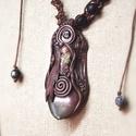 Turmalin nyaklánc, föld anya amulett, ásvány ékszer, Csokoládé barna modellező gyurmából készült...