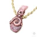 Rózsaszín rodonit és rubellit medál, makramé nyaklánc, ásvány ékszer, Csiszolt, valódi ásványok, süthető gyurma fog...