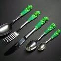 Zöld békás evőeszköz készlet /5 db-os/, Saját tervezés alapján készítettem el ezt a b...