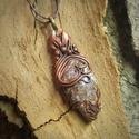Achát medál barna zsinór nyakláncon - AMARA, Amara egy kézzel formált medál. Anyaga modellez...