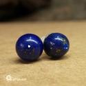 Lápisz lazuli fülbevaló ásvány köves orvosfi fém ékszer, Ékszer, Fülbevaló, Lápisz lazuli fülbevaló ásvány köves orvosfi fém ékszer  8 mm átmérőjű láőisz lazuli golyós fülbeval..., Meska