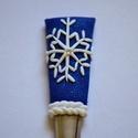 Hópelyhes teáskanál 2., Konyhafelszerelés, Gyurma, Gyönyörű hópehely, közepén egy stasszkővel. Csillámos kék-fehér színben.  Kanál teljes hossza:14 cm..., Meska