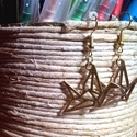 """Origami madár fülbevaló arany színben, Ékszer, Fülbevaló, Egyedi, kézzel összerakott, origami madaras fülbevaló műanyag """"stopperrel"""" a hátulján. Méret..., Meska"""