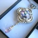 Tündérrózsa - Ezüst rózsaszín nyaklánc, Esküvő, Ékszer, Esküvői ékszer, Nyaklánc, Halvány tavirózsa szépsége ihlette ezt a nyakláncot. Sterling ezüsttel futtatott foglalatban v..., Meska