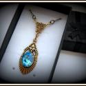 Óceán - aquamarine swarovski nyaklánc, Ékszer, óra, Esküvő, Esküvői ékszer, Nyaklánc, Ebben a finoman megkomponált darabban az aprólékos kidolgozású szecessziós mintájú sárgaré..., Meska