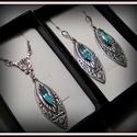 Christine - aquamarine ezüst Swarovski szecessziós szett, Ékszer, Esküvő, Esküvői ékszer, Ékszerszett, Ékszerkészítés, Fémmegmunkálás, Pálmaház mintája ihlette aquamarine szett melyet 3 ragyogó eredeti Swarovski kristály díszít. Visel..., Meska