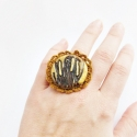 Nádas gyűrű - horgolás - polymer clay - süthető gyurma, Ékszer, óra, Gyűrű, Süthető gyurmából készült antikolt gyűrű, arany színű festéssel, horgolással díszítve. Állítható bro..., Meska