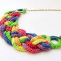 szivárvány színű színátmenetes fonott nyaklánc / kötött ékszer, A szivárvány minden színében pompázó színá...