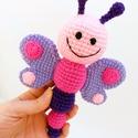 pillangó csörgő / horgolt babajáték , Horgolt, mosolygó pillangó csörgő, hossza 21 c...