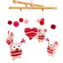 Rózsaszín baglyos horgolt babaforgó, gyerekszoba dekoráció, Postázásra kész. Színes, kedves, ágy fölé a...