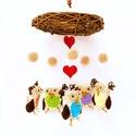 Horgolt babaforgó baglyokkal, gyerekszoba dekoráció, Baba-mama-gyerek, Dekoráció, Gyerekszoba, Postázásra kész. Horgolt babaforgó, gyerekszoba dekoráció beige alapon színes (türkiz, zöld, narancs..., Meska