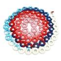 hosszú horgolt nyaklánc piros, kék, rózsaszín és fehér színekben, Ékszer, óra, Nyaklánc, Kék, türkiz, fehér, rózsaszín és piros színátmenetes fonalból karikákra horgolt nyaklánc, piros fa g..., Meska
